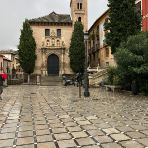 Church of Santa Anna, 16th century, in the morning rain before clearing.